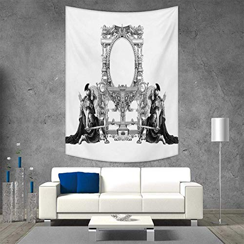 (smallbeefly Victorian Vertical Version Tapestry Victorian Frame a Gladiator Warrior Roman Headpiece Ancient Design Throw, Bed, Tapestry Yoga Blanket 40W x 60L INCH Black White)