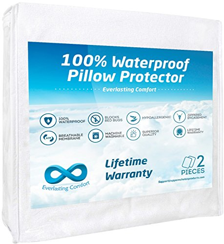Everlasting Comfort 100% Waterproof Pillow Protector, Hypoallergenic, Breathable Membrane, Lifetime Replacement Guarantee (Standard, 2-Pack) (Proof Bug Pillow Bed King Case)