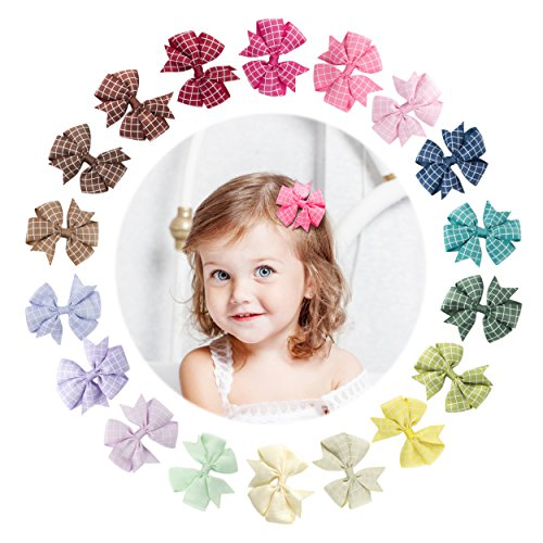 Yinson 18 Packs 3 Inch Baby Girls Ribbon Grosgrain Mini Geometric Pattern Boutique Hair Bows Clips Sets for Infant Toddler Kids (Ribbon Bow Trim)