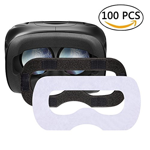 T&B Disposable HTC VIVE VR Mask Hygiene White Replaceable Blinder with Sponge Mat Replacement Accessories for HTC VIVE Virtual Reality Headset 100 Pcs