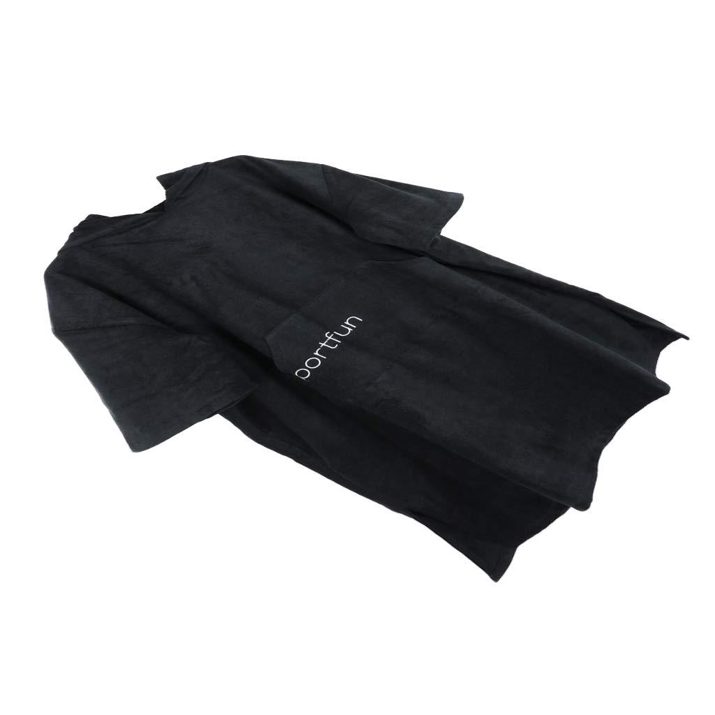 Toygogo Unisex Microfiber Quick Dry Changing Robe Beach Poncho Bath Towels Bathrobe - Black, 110x75cm by Toygogo