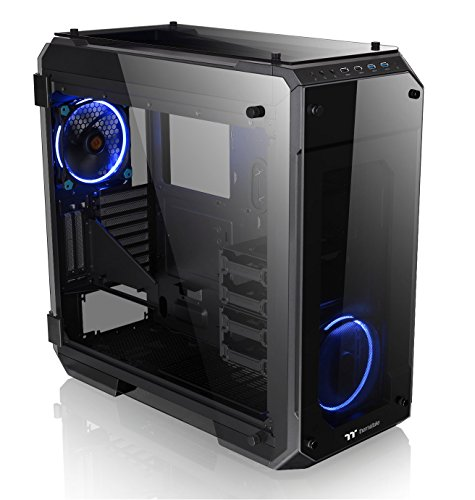 Thermaltake View 71 4-Sided Tempered Glass Vertical GPU Modular SPCC E-ATX Gaming Full Tower Computer Case with 2 Blue LED Riing Fan Pre-installed CA-1I7-00F1WN-00 (Led Full Blue Tower)