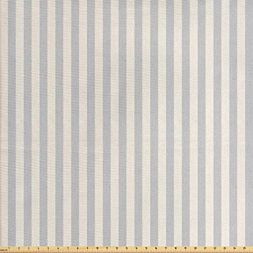 Lunarable Beige Fabric by The Yard, Vertically Striped Pattern with Grungy Worn Out Texture Nostalgic Background, Decorative Fabric for Upholstery and Home Accents, 1 Yard, Beige and Pale - Outdoor Stripe Fabric Upholstery