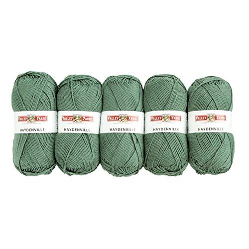 - Valley Yarns Haydenville 5-Pack (Washable Worsted Weight Yarn, 60% Superwash Merino Wool/ 40% Acrylic Microfiber) - #18 Sage