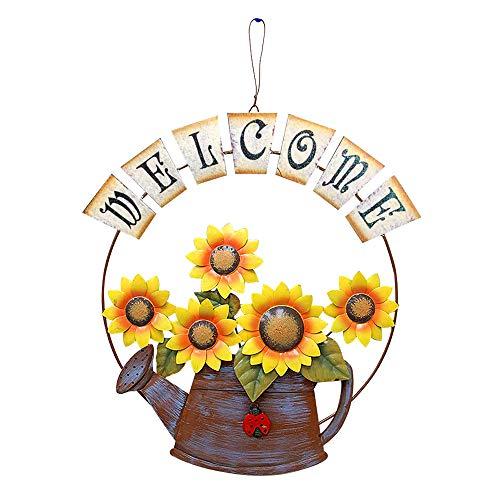 YK Decor Vintage Metal Welcome Sign Hanging Sunflower Watering Can Design Froot Door Hanging Decor Indoor Outdoor (Outdoor For Decks Signs)