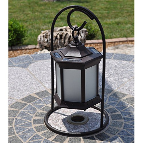 Starlite Garden and Patio Torche SLASFG Solar Lantern with Arch Stand, Brown/Frosted Glass
