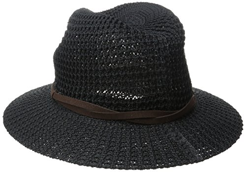 - San Diego Hat Company Women's Knit Fedoa Sun Hat with Twisted Brown Faux Suede Band, Black, One Size