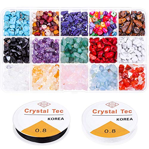 Gemstone Beads, Paxcoo 15 Colors Natural Stone Chips Crystals and Healing Stones Semi Precious Beads for Jewelry Making, Craft and Bracelets