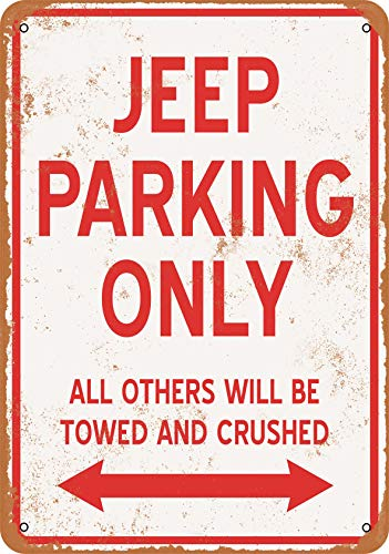 Wall-Color 9 x 12 Metal Sign - Jeep Parking ONLY - Vintage Look