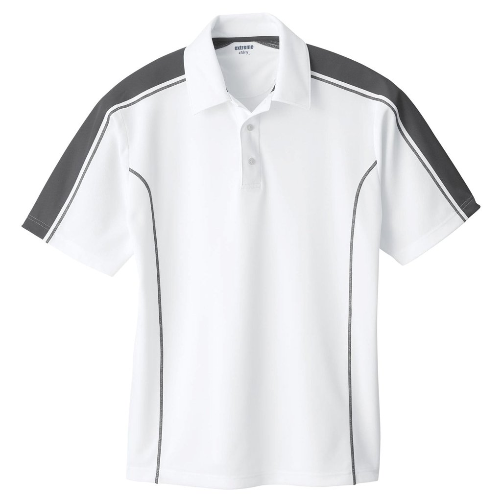 Ash City Mens Eperformance Extreme Pique Color Block Polo Shirt (XXXXX-Large, White/Black Silk) by Ash City Apparel