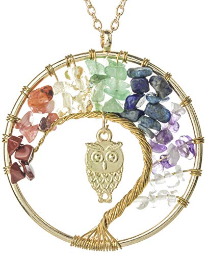 Lijo Tree of Life Pendant - Necklace New 2018 Multi-Color Stones Chakra Accessory, Christmas and Mothers Day Gift Idea for Her, Dazzling Gold Colored