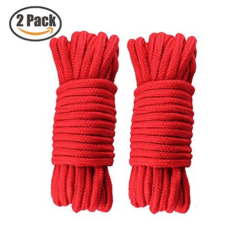 Soft Cotton Rope 2 Pack 32 Feet Durable Long Ropes 1/3 Inch Diameter Knot Tying Rope Thick Packaging String (2 - 2 Rope Diameter