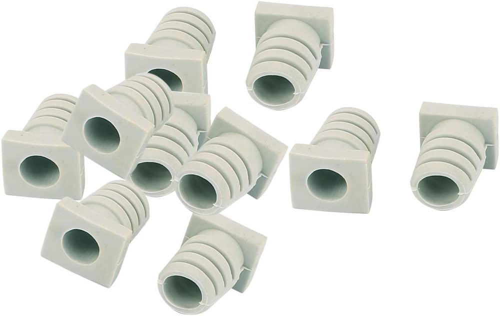 uxcell 10pcs 7mm Inner Dia Rubber Strain Relief Cord Boot Protector Cable Sleeve Beige
