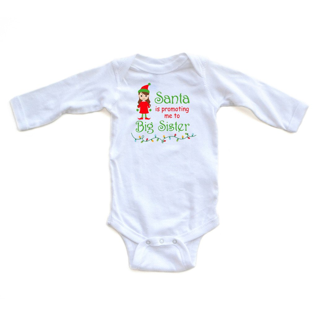 Apericots Santa is Promoting Me to Big Sister Long Sleeve Baby Bodysuit