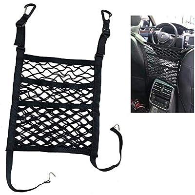 FJSa 3-Layer Car Mesh Organizer, Seat Back Net Bag, Barrier of Backseat Pet Kids Cargo Tissue Purse Holder Storage Netting Pouch: Home Improvement