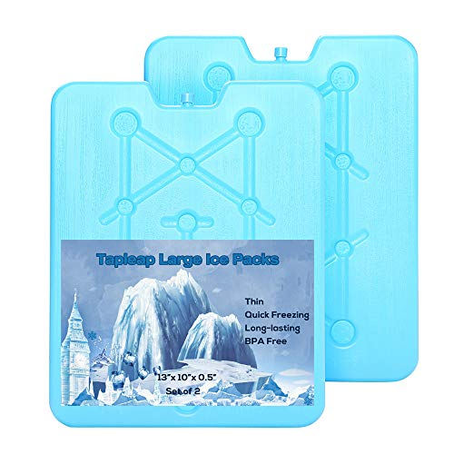 Large and Thin Ice Packs for Coolers - Long Lasting Freezer Packs - 25 Minutes Quick Freeze, Slim and Reusable Ice Substitute 13 x 10 x 0.5 inch - Set of 2 (Best Freezer Packs For Coolers)