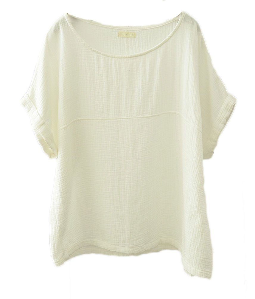Soojun Women's Solid Round Collar Linen Tops Patchwork Shirts Blouses White, Medium by Soojun (Image #1)