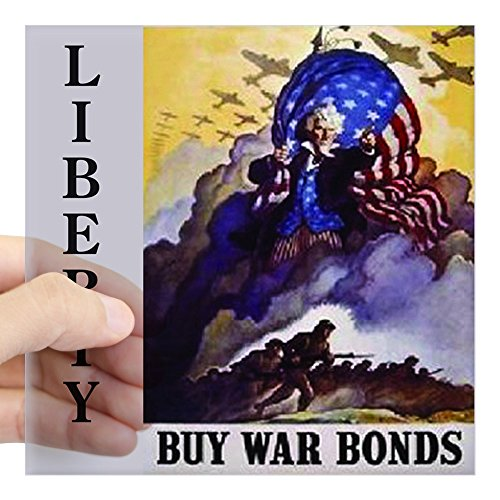 "CafePress - Liberty Buy War Bonds Sticker - Square Bumper Sticker Car Decal, 3""x3"" (Small) or 5""x5"" (Large)"