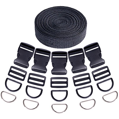 Swpeet 41Pcs 3/2 Inch DIY Making Bag Kit, Including Flat Side Release Buckles and Tri-Glide Slides and D Rings with 1 Roll 5 Yards Nylon Webbing Straps for DIY Making Luggage Strap, Pet Collar