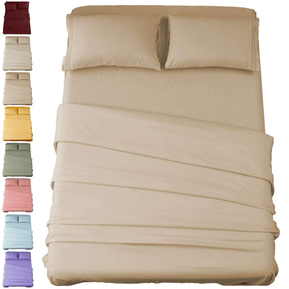 Sonoro Kate Bed Sheet Set Super Soft Microfiber 1800 Thread Count Luxury Egyptian Sheets 16-Inch Deep Pocket,Wrinkle and Hypoallergenic-4 Piece (Taupe, Queen)