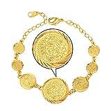 Dubai 18K Stamp Muslim Coin Beaded Gold Plated Bracelet