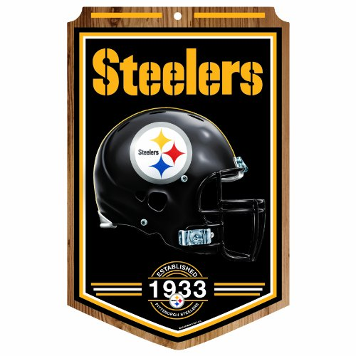 Amazon Lightning Deal 58% claimed: NFL Pittsburgh Steelers 11-by-17 Wood Sign Traditional Look