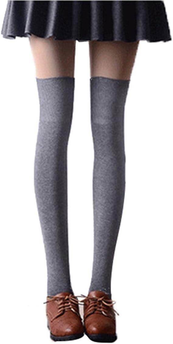 Tinksky Mujer Calcetines Hasta la Rodilla Medias Calcetines Largos de Algodón (Gris Claro): Amazon.es: Ropa y accesorios