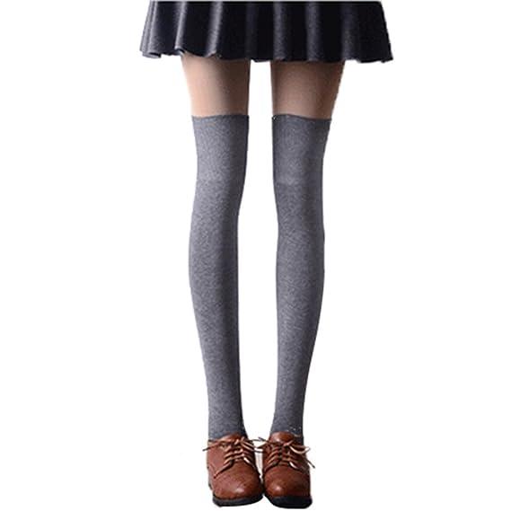 Tinksky Mujer Calcetines Hasta la Rodilla Medias Calcetines Largos de Algodón (Gris Claro)