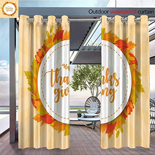 BlountDecor Indoor/Outdoor Single Panel Print Window Curtain Happy Thanksgiving Background with Leaves Can be Used for Poster Banner Flyer in Silver Grommet Top Drape W72 x L84/Pair