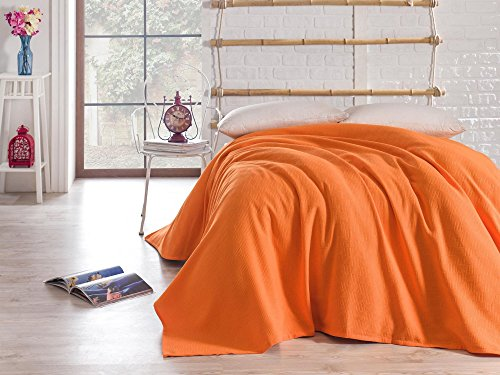 LaModaHome Luxury Soft Colored Twin and Single Bedroom Bedding 100% Cotton Single Coverlet (Pique) Thin Coverlet Summer/Orange Background One Color Simple Basic Empty Plain Orange Orange