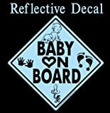 Baby on Board Decal Black & Blue Reflective with Graphics