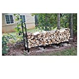 8ft Log Rack with Cover Rustic Fire Pit 8 feet Fireplace Outdoor Heavy Duty Holder Firewood Metal Covered Storage Large Steel Wood Easy Assembly Lightweight Protect Cover Black & Ebook by OISTRIA