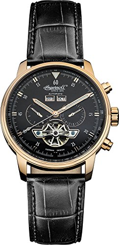 "Ingersoll Men's IN4511RBK ""Okies"" Stainless Steel Automatic Watch with Black Genuine Leather Band"