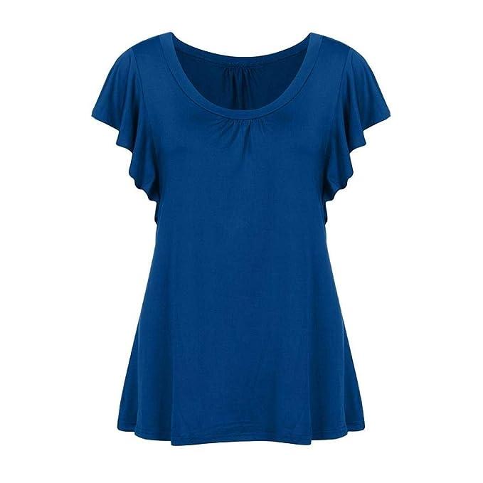 Shirt Damen Frauen Kurzarm O Bluse Hals Pullover Tunika Oberteile Tops T  Shirt Normallacks Basic T-Shirts  Amazon.de  Bekleidung c573b3b322