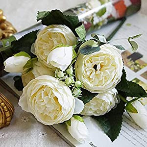 Lotus leaf fragrance 2019 Beautiful Rose Peony Artificial Silk Flowers Small Bouquet Flores Home Party Spring Wedding Decoration Fake Flower,6 5
