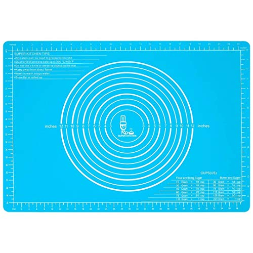 (Silicone Pastry Mat Non Stick with Measurements(25.4''×17.7'')for Baking Mat Extra Large,Non Slip Silicon Dough Rolling Mat, Table/Countertop Placemats and Fondant/Pie Crust Sheet Blue)