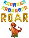 Rose&Wood 16'' Gold Roar Foil Balloons Set,Roar Birthday Theme,Dinosaur Party