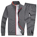 Modern Fantasy Men's Solid Sweatsuit Running Joggers Sports Jacket & Pants Tracksuit Big Darkgray XL
