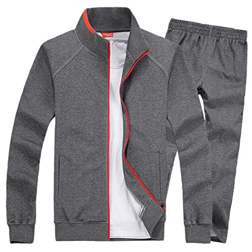 Modern Fantasy Men's Solid Sweatsuit Running Joggers Sports Jacket & Pants Tracksuit Big Darkgray S by Modern Fantasy (Image #3)