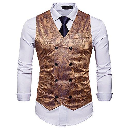 Cyparissus Mens Vest Waistcoat Men's Suit Dress Vest for Men or Tuxedo Vest (Small, Gold)