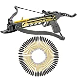 Cheap KingsArchery Crossbow Self-Cocking 80 LBS with Adjustable Sights and a Total of 63 Aluminim Arrow Bolt Set