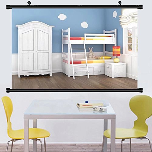 Gzhihine Wall Scroll Posterchildren s bedroom in blue walls with bunk bed and wardrobe ,Wall Art Paiting on Canvas 24