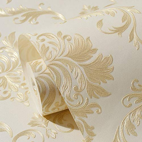 - Bomeautify Thicken SelfAdhesive Non Woven European Style Damask Wallpaper 3D Relief Wallpaper Living Room Bedroom Background Wall Yellow