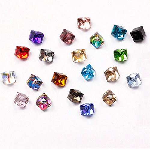 QIMYAR Nail DIY Stone Rhinestone 3D Cube Square Design Glass Crystal Mixed 100pcs (Rhinestone Cube)