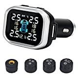 B-Qtech Tire Pressure Monitoring System Wireless TPMS Monitor with 4 External Sensors Cigarette Lighter Plug Adjustable Display Angle