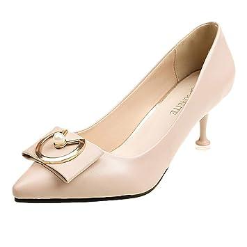 4ef84d7f0c2a4 Makefortune 2019 Frauen Pumps Mittlere Fersen mit einzelnen Schuhen ...