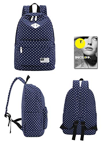Printed Rucksack Blue Bag Dot Laptop Polka 15 Deep 6 inch wpYq4UT