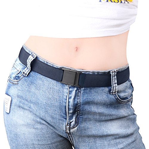 Denim Girls Belt - No Show Women Stretch Belt Invisible Elastic Web Strap Belt with Flat Buckle for Jeans Pants Dresses