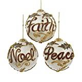 Kurt Adler 3.5-inch Capiz Laminated Ball Ornaments, Set of 3