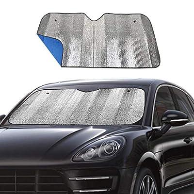 Windshield Sunshade Car Foldable UV Ray Reflector Auto Front Window Sun Shade Visor Shield Shade,Keeps Vehicle Cool - Blue (55